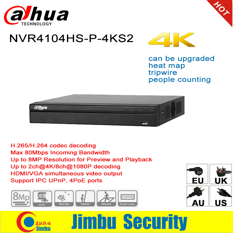 Dahua NVR P2P 4K poe Network Video Recorder NVR4104HS-P-4KS2 4CH 4 POE Port H.265/H.264 Up to 8MP For IP Camera dahua nvr 4k 16ch nvr4116hs 4ks2 network video recorder 1u lite network h 265 h 264 up to 8mp hdmi vga simultaneous output