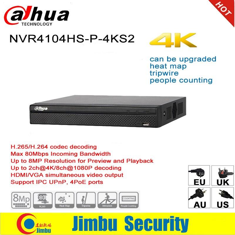 Dahua NVR P2P 4K poe Network Video Recorder NVR4104HS-P-4KS2 4CH 4 POE Port H.265/H.264 Up to 8MP For IP Camera цена 2017