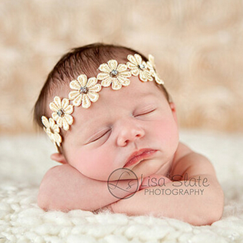 1PC Newborn Flower Headband for Kids Hair Accessories Summer Style Flower Rhinestone Hair Band Photography Props