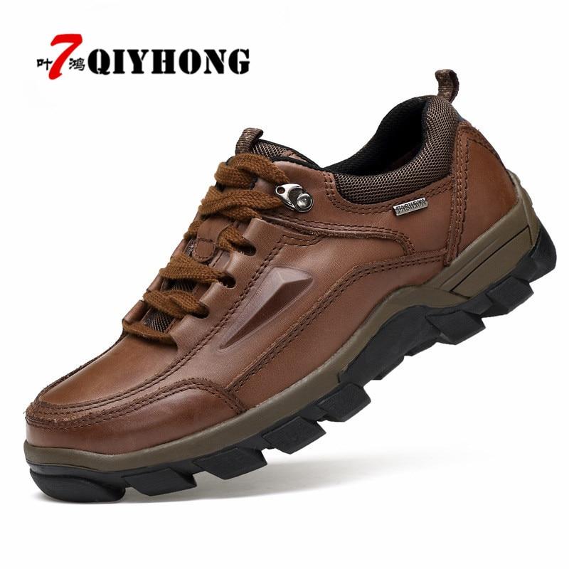 Nouvelle taille 37 ~ 47 chaussures en cuir véritable de haute qualité, chaussures d'hiver de mode faites à la main pour les hommes, en plein air élégant décontracté hommes bottines-in Chaussures décontractées homme from Chaussures    1