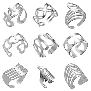 Hot Cuff Ring Punk Gold Color Knuckle Rings for Women Men Finger Ring Geometrical Irregular Ring Jewelry(China)