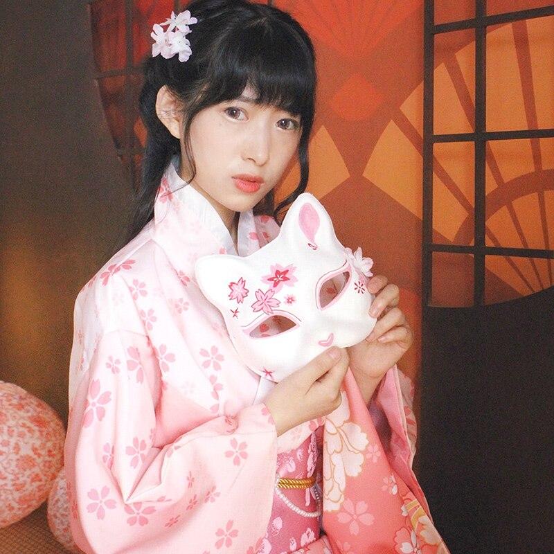 Nouveau japonais traditionnel Kimono robe femmes Yukata cerise Kimono femme Cosplay amour Live robe femme Obi japon vêtements DQL1408