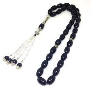 Image 2 - Pierres naturelles en Onyx noir mat, 33 perles de prière, de forme ronde, pour lislam, Tasbih Allah, livraison gratuite