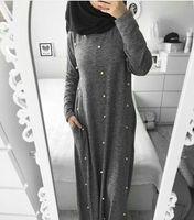 MZ Garment Woman Long Sleeve Abaya Islamic Female Muslim Apparel Ladies Pearls Decoration Kaftan Long Women