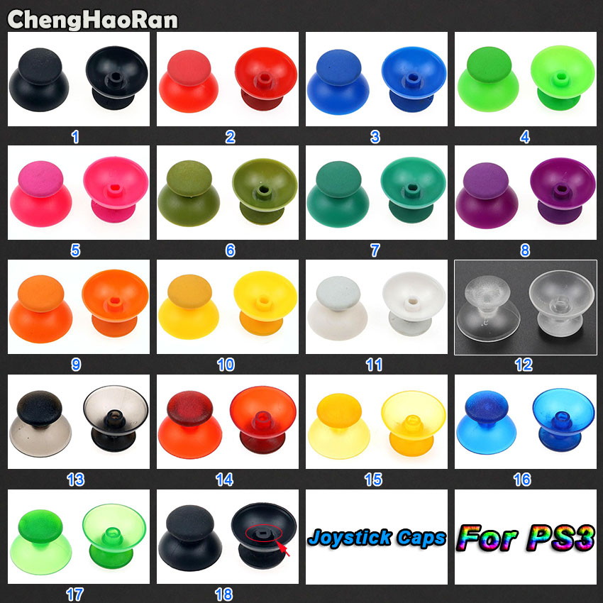 ChengHaoRan 2pcs Analog Joystick Thumbstick Grip Cap Button Repair Parts For Sony PlayStation Dualshock 3 PS3 Gamepad Controller