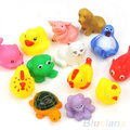 New arriving  Cute Soft Rubber Float Sqeeze Sound Baby Wash Bath Toys Play Animals Toys
