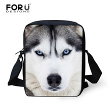 Casual 3D Animal Husky Printed Men's Messenger Bag Small Boys Lion Crossbody Bag Male Students Kids Mini Shoulder Handbag X