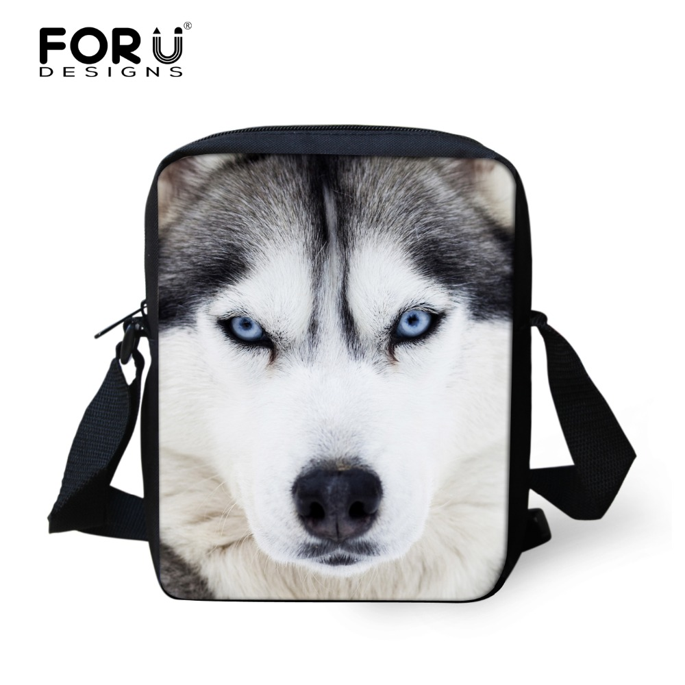 FORUDESIGNS Casual 3D Animal Husky Printed Men's Messenger Bag Small Boys Lion Crossbody Bag Male Students Kids Mini Shoulder рубашка animal husky shirt greeny