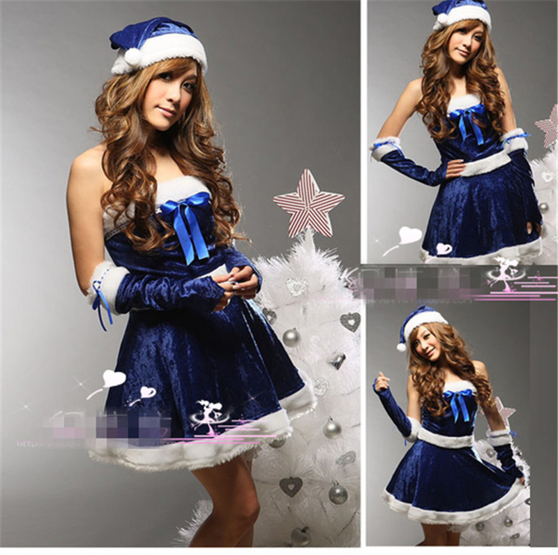 Hot Sale Christmas Clothing Personalized Woman Dress Red Blue Hat