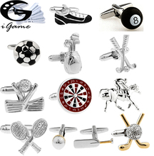 iGame Factory Price Supply Sport Cuff Links Golf Football Tennis Design Free Shipping cheap Tie Clips Cufflinks Fashion Classic Simulated-pearl Metal Copper