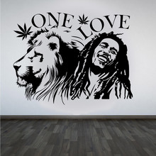 wall stickers Bob Marley Lion Zion ONE LOVE Marijuana Quote Wall Art Sticker/Decal/Mural Removable Vinyl Waterproof Mural
