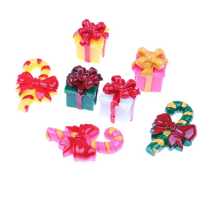 6PCS Miniature Christmas  Resin Gift Box Candy Terrarium Accessories Fairy Garden Figurines Cartoon Doll Ornaments
