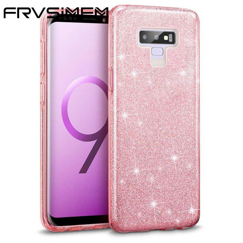 Für Samsung Galaxy Note 9 8 S9 S8 Plus A6 J4 J6 J2 Pro 2018 Make-Up Zurück Abdeckung Shinning Schutzhülle bling Glitter 3 Schicht Fall