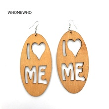 WHOMEWHO Natural Wood Africa Laser Cut I Love Me Heart Geometric Earring Vintage Party African Afro Jewelry Wooden DIY Club Gift