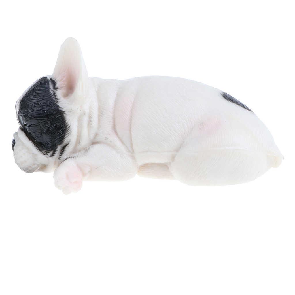 Realista de Dormir Animais Filhote de Cachorro do animal de Estimação Do Cão do Buldogue Francês Figura Floresta Selvagem Fazenda Modelos Oceano Brinquedo Educativo Presente Decor Home # B