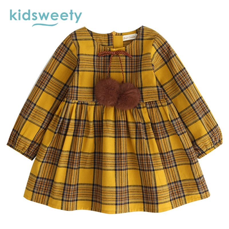 9da1b2f24b0a Image Kidsweety Girls Dresses Cotton A Line Plaid Chocolate Pullover O Neck  Lace Up Patchwork Bowknot