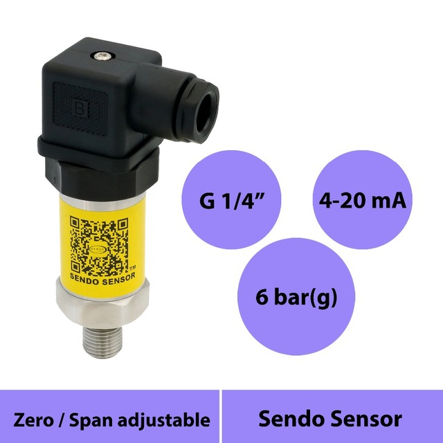 "transmitter pressure sensor 4-20mA, G1/4"" thread, stainless steel 316L diaphragm, pressure 0-600kpa, 0-6bar, 0-0.6mpa, 12v power"