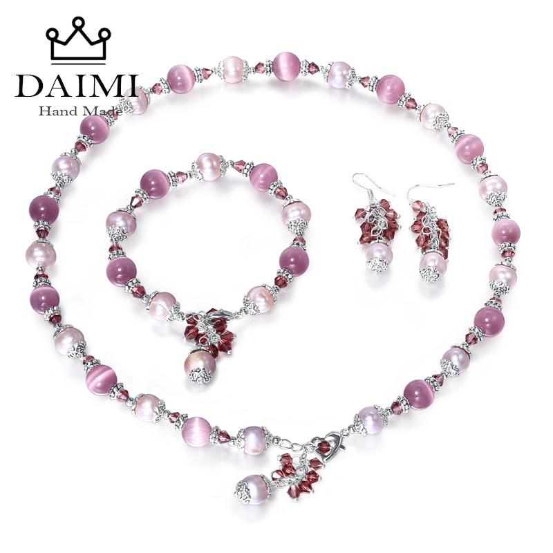 цена на DAIMI 9-10 mm Pearl Sets Agate Jade Cats Eyes Stone Turquoise Necklace Bracelet Earrings Colorful Stone Jewelry Set