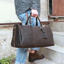 Купить с кэшбэком Vintage High Grade Genuine Leather Men Handbag Pure Handmade Crazy Horse Leather Big Volume Men's Travel Bags