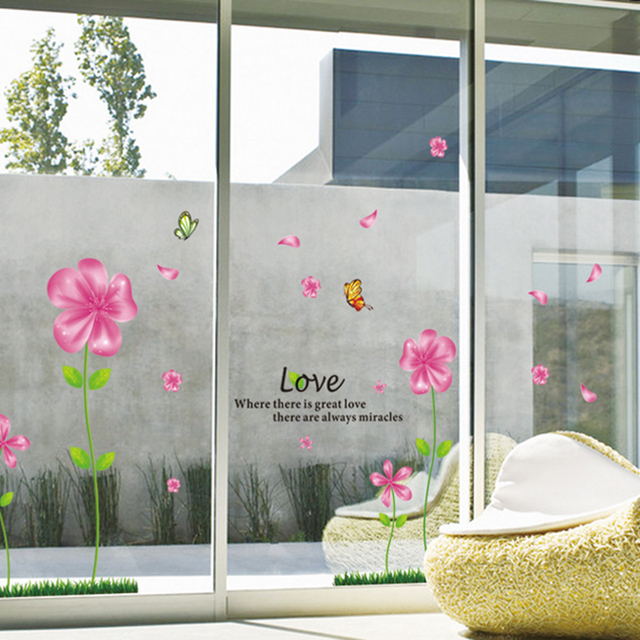 pink flower quote glass wall window stickers adhesive removal vinyl