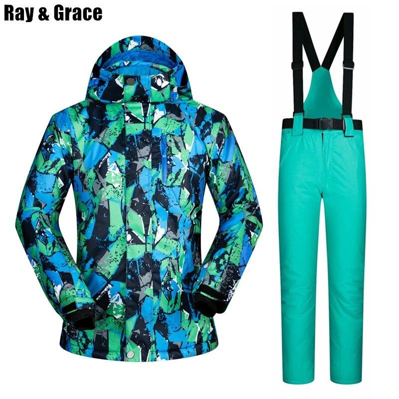 RAY GRACE hiver veste hommes Ski costume mâle chaud polaire veste pantalon ensemble respirant imperméable coupe-vent Sports de plein air vêtements