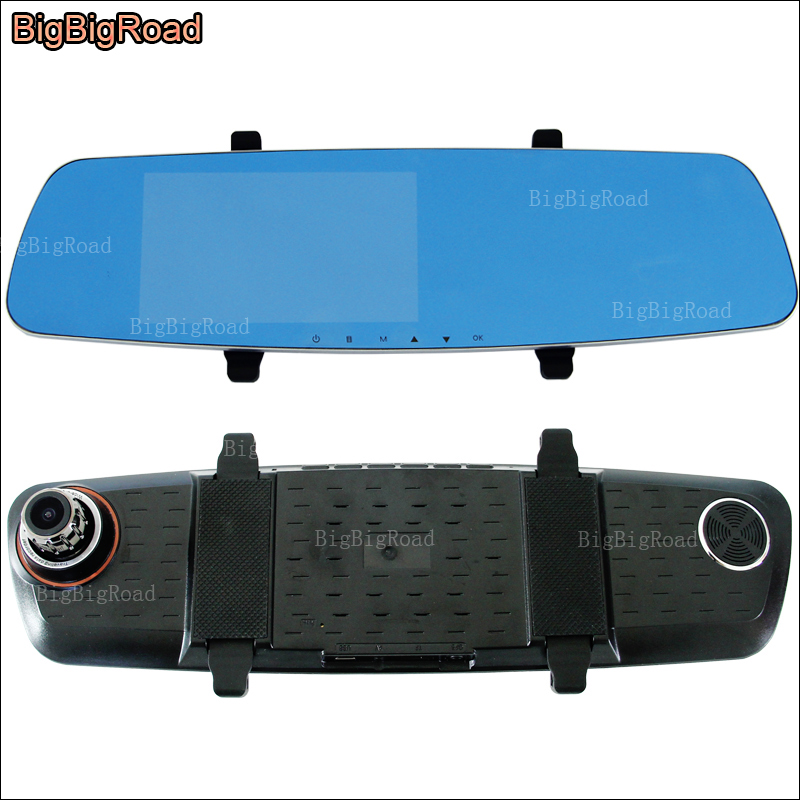 BigBigRoad For dodge Caravan / Caliber Car DVR Car Dual lens Blue Screen Rearview Mirror video registrator 5inch Car Black Box цена