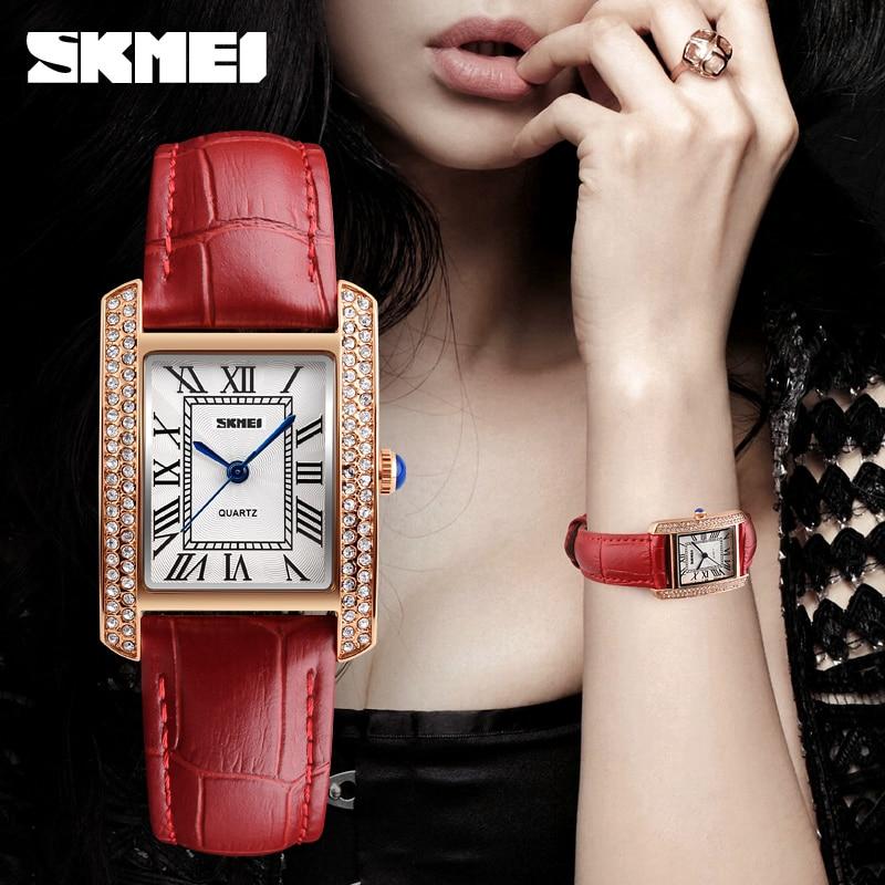 Top Luxury Brand SKMEI Fashion Rhinestone Dress Watches Women Leather Casual Women's Quartz Watch Waterproof Ladies Wristwatch