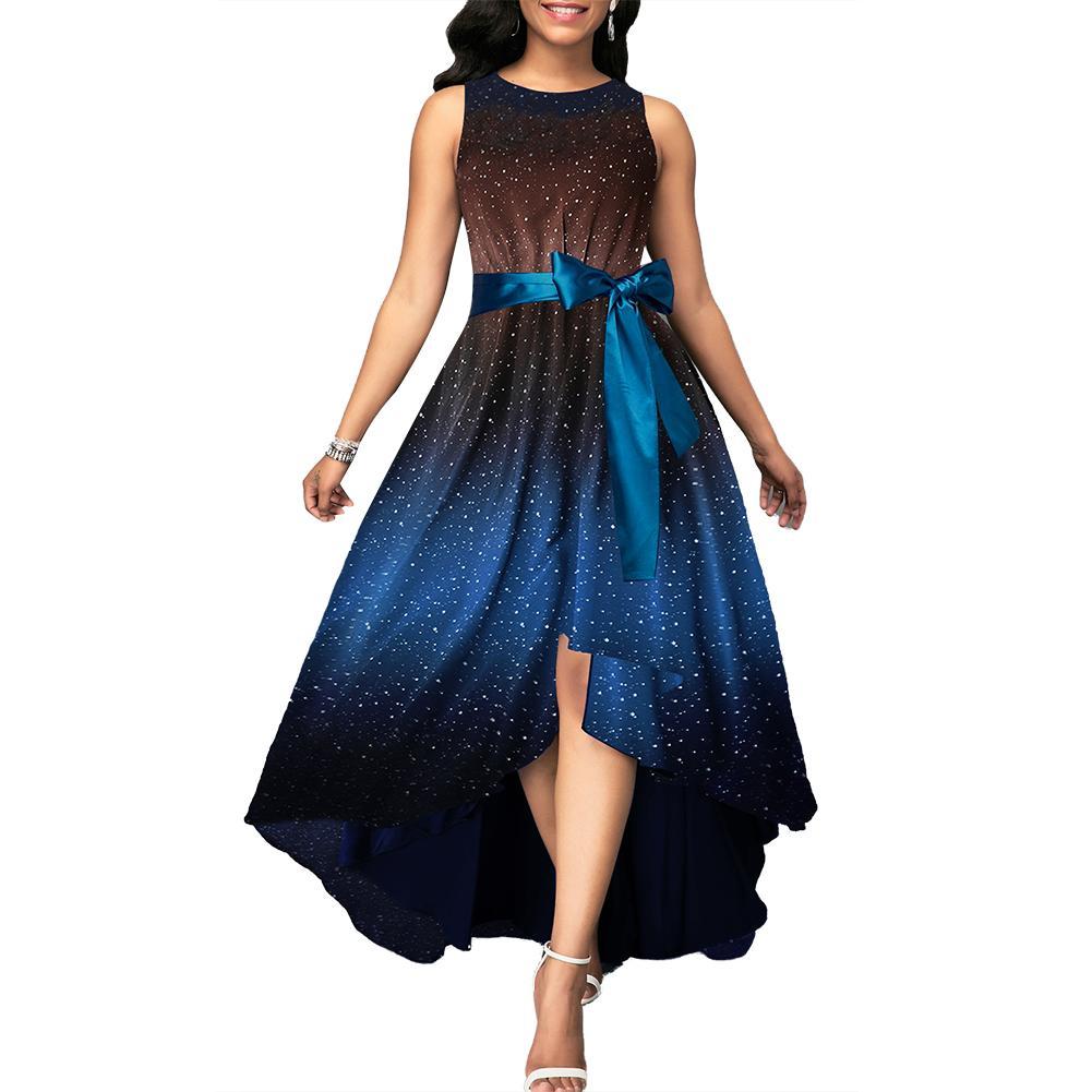 Плюс размер элегантное женское звездное небо с принтом без рукавов пояс с бантом Высокая талия неправильное для вечеринки Коктейльное Макс...