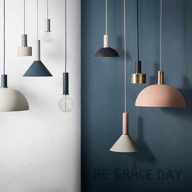 Нордическая простая барная Подвесная лампа цветной кулон свет ресторан, спальня, прикроватные светильники, современное искусство и креативное освещение