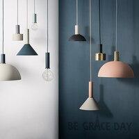 Nordic Simple Bar Hanging Lamp Colored Pendant Light Restaurant Bedroom Bedside Lights Modern Art And Creative