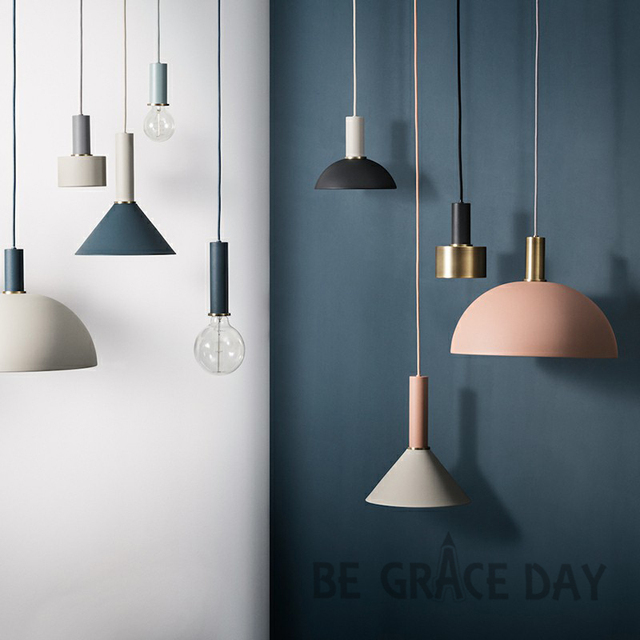 Nordic Simple Bar Hanging Lamp Colored Pendant Light Restaurant Bedroom Bedside Lights Modern Art And Creative Lighting