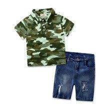 Camo child boys garments cotton short-sleeve T-shirt + quick denims 2PCS Boys Pant Set Kids Baby Boys Casual Clothes Sets 2-7T