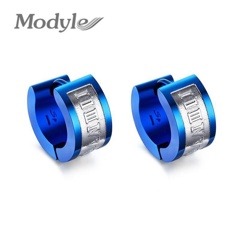 Modyle Blue Statement Earrings for Men Women Stainless Steel Punk Earrings Jewelry - Earrings For Men