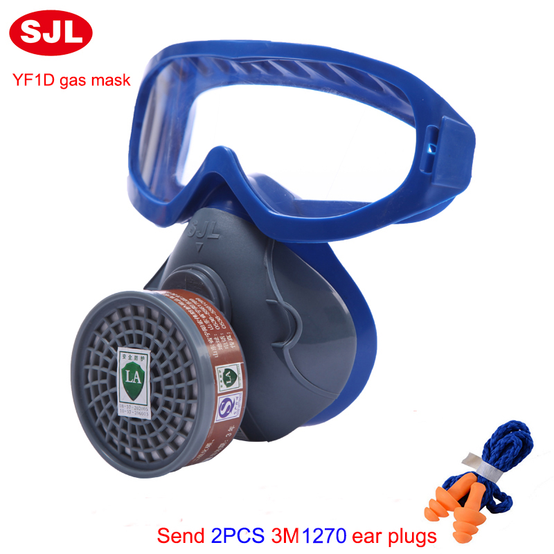SJL high quality Silicone singl tank mask  PC lens Anti-chemical splash masks Good ventilation Multifunction chemical gas mask high quality airsoft mask pc the lens used for cs welding polishing dust the face protect mask splash proof material safety mask