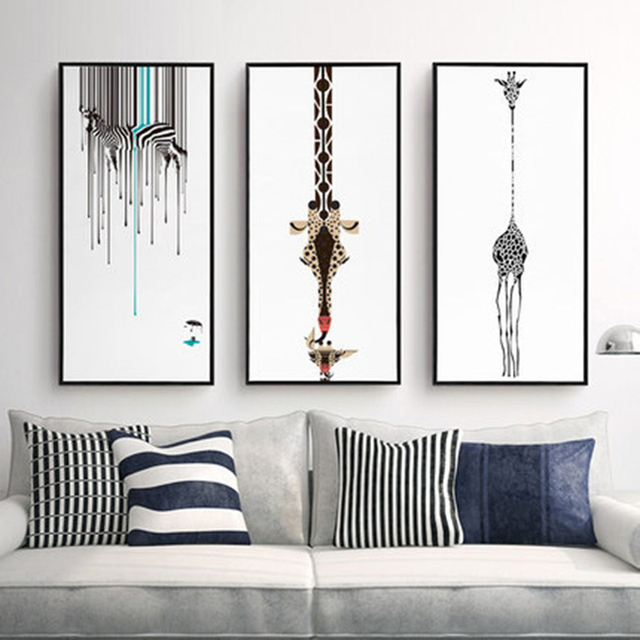 Triptych Abstract Decorative Painting Living Room Modern Wall ...