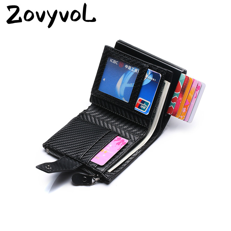 ZOVYVOL RFID Wallet for Travel PU Leather Credit Card Holder Hasp Multifunctional Wallet Antitheft Automatic Pop Up Card Case in Wallets from Luggage Bags
