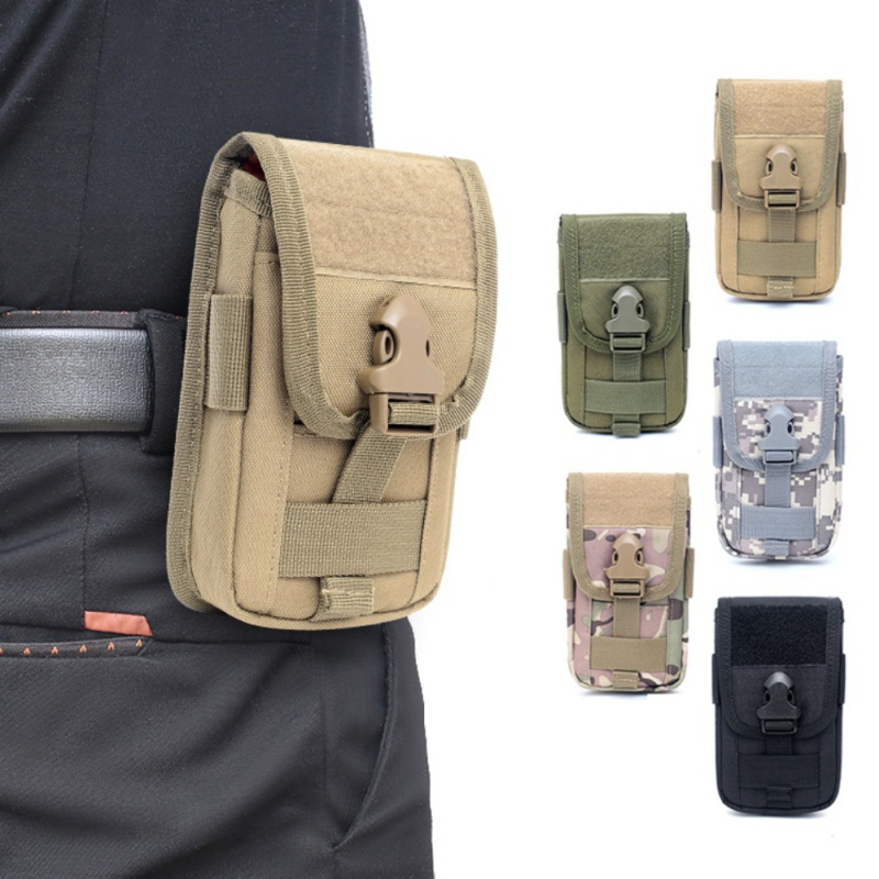Outdoor Tactial Molle Phone Holster Waist Bag Pouch Utility Vest Card Carrier Bag Mini Multi-function Hook Loop Travel Bag image