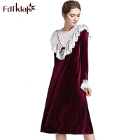 Fdfklak White Nightgown Spring Autumn Sexy Lace Vintage Nightgowns Long Night Gown Women's Sleepwear Nighties For Women Q780