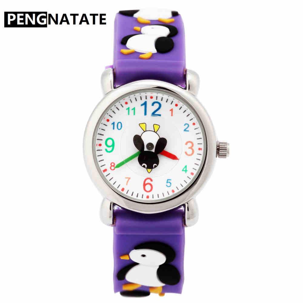 PENGNATATE Cartoon Penguin Watch Kids Watches For Boys Girls Purple Strap Children Silicone Bracelet Wristwatch Students Gifts