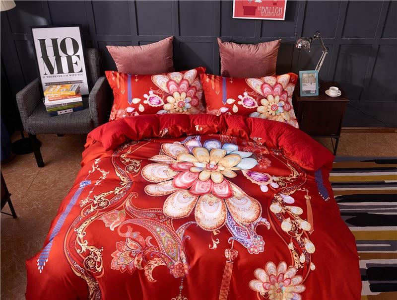 Red Luxury 3D Flower Digital Printing 100% cotton Comfortable Bedding Set Duvet Cover Bed Linen Bed sheet Pillowcases 4pcs