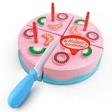 9 adet DIY doğum günü pastası kesme oyna Pretend gıda seti pembe mavi renk eğitici mutfak oyuncak hediye kızlar için çocuk çocuk