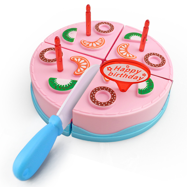 9PCS DIY Birthday Cake Cutting Pretend Play House Food Set Pink Blue Colors Educational Kitchen Toys Gift for Girls Kid Children