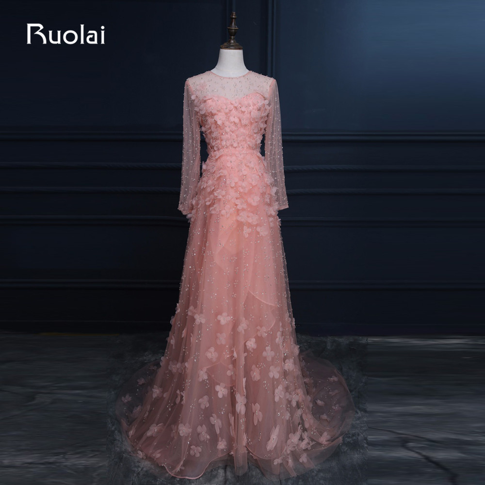 Real Photo Elegant Scoop Long Sleeves Tulle A-Line Flowers Beaded   Evening     Dresses   Long for Formal Prom Party   Dress   ASAFE2