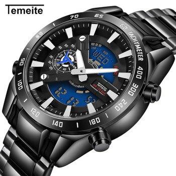 Temeite Mens Watches Top Brand Luxury Sport Watch Men Stainless Steel Band LED Dual Display Quartz Wristwatch Relogio Masculino