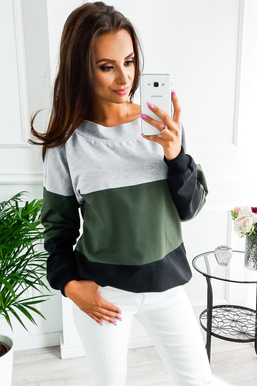 Womens Long Sleeve Striped Top Crew neck Casual Loose Splicing Colors Polyester 2018 Autumn Hoodies Pullovers 1
