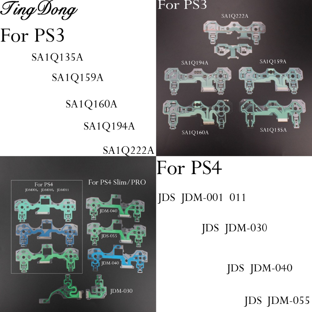 Buttons Ribbon Circuit Board For PS2 PS3 Dualshock PS4 Pro Slim JDM 030 040 Controller Conductive Film Keypad Flex Cable