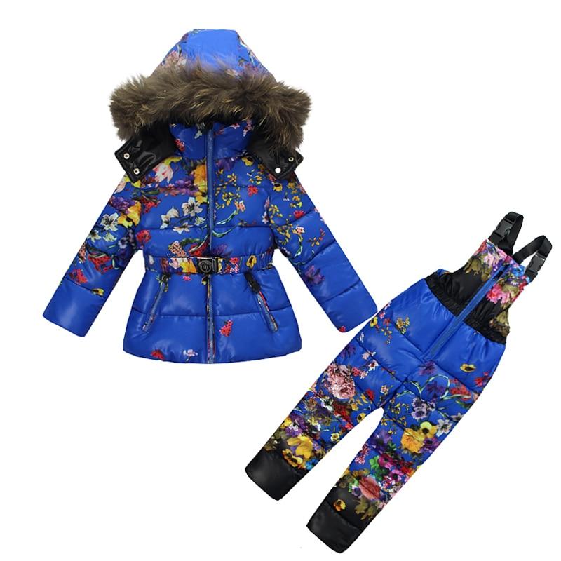 купить new winter children clothes set girls snowsuit warterproof thicken warm baby girl down jacket large fur collar toddler outerwear недорого