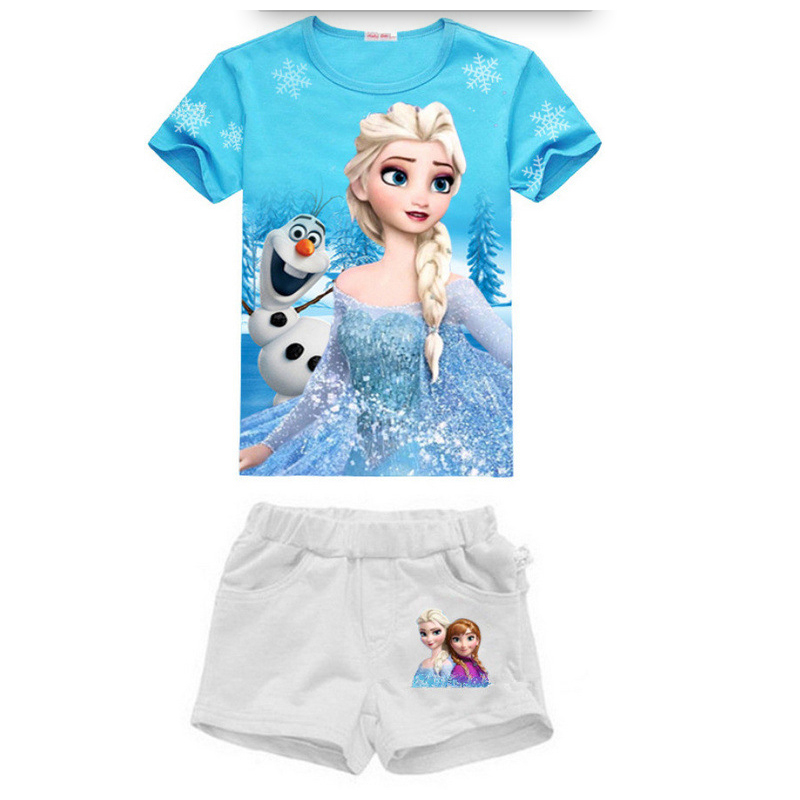 Summer Girls Clothes Set Fashion Children Sports Suits Elsa Anna Princess Kids Girls Short Sleeve T-shirt Tops + Shorts New little j new fashion kids girl clothes set summer short sleeve love t shirt tops leather skirt 2pcs outfit children suit