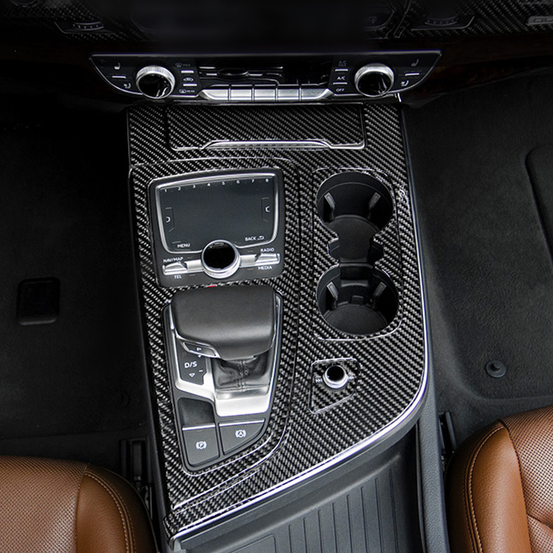 Carbon Fiber Center Console Gearshift Decoration Frame Cover Gear Sticker Trim For Audi Q7 2016 19 LHD Interior Accessories-in Automotive Interior Stickers from Automobiles & Motorcycles