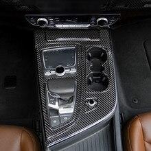 Karbon Fiber merkezi konsol vites dekorasyon krom çerçeve dişli etiket Trim için Audi Q7 2016 19 LHD İç aksesuarları